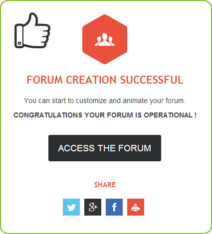Creation of the forum successfull